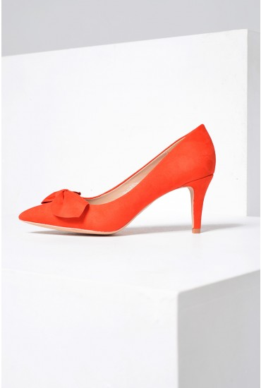 Polly Mid Heel Court Shoe in Orange