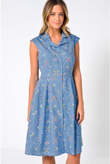 Adora Swimmers Shirt Dress in Blue