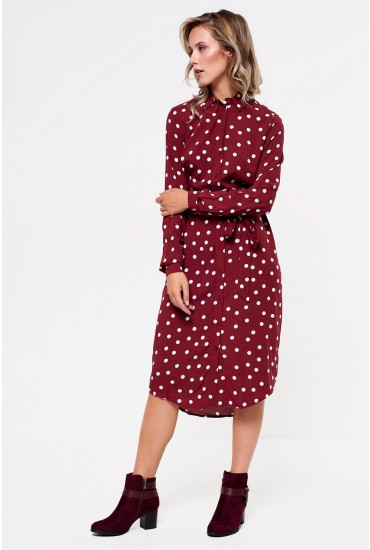 Reva Polka Dot Shirt Dress in Wine