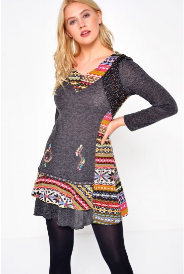 Ana L/S Patchwork Tunic in Grey