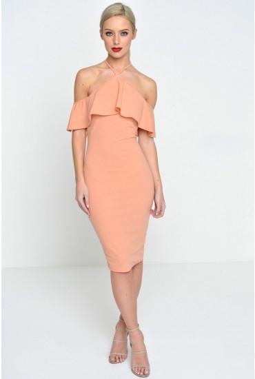 Karen Frill Halter Dress in Blush