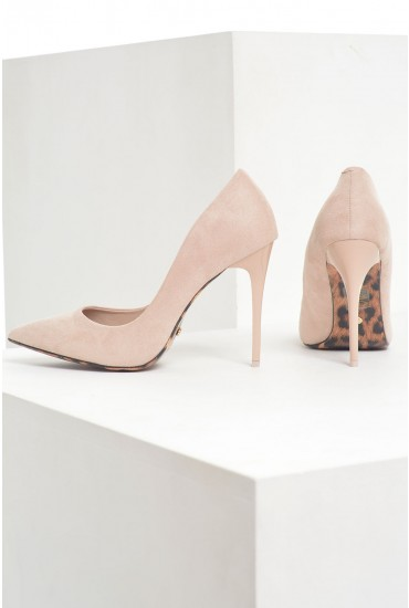 Tori Suede Court Shoes in Beige