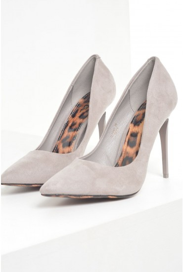 Tori Suede Court Shoes in Grey