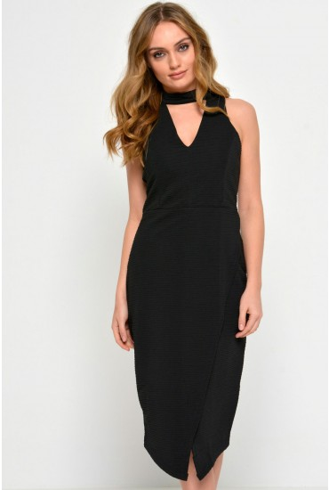 Ava Textured Cut Neck Dress in Black