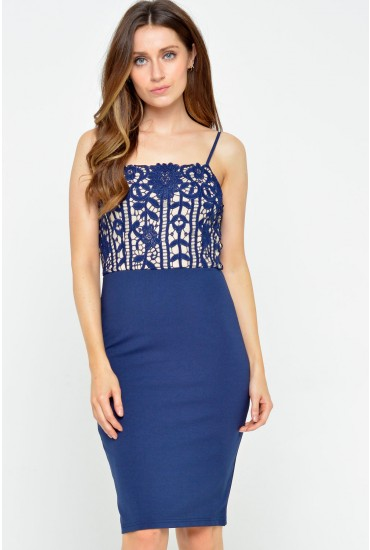 Gene Lace Bodice Bodycon Dress in Navy