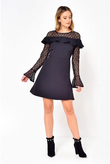 Olivia Frill Crochet Dress in Black