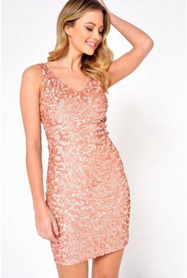 Lulu Sequin Dress in Rose Gold