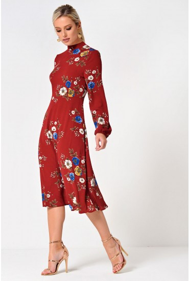 Lydia Long Sleeve Floral Midi Dress in Red