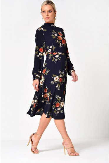 Lydia Long Sleeve Floral Midi Dress in Navy