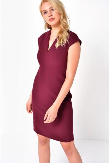 Kim S/S Bodycon Dress in Wine