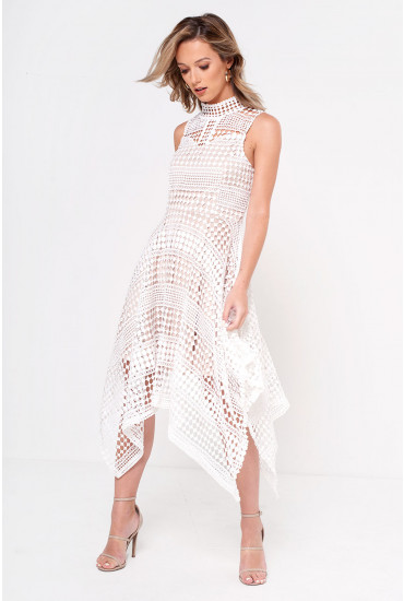 Paula Handkerchief Hem Crochet Dress in White