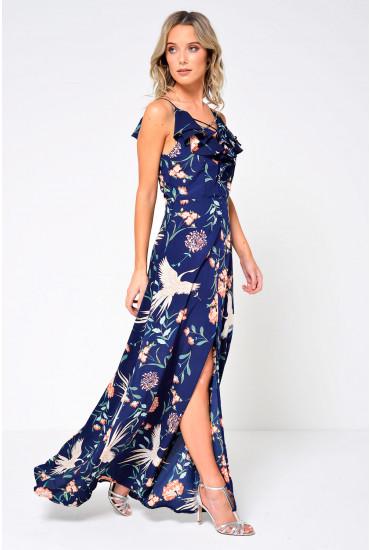 Alika Crane Print Ruffle Maxi Dress in Navy