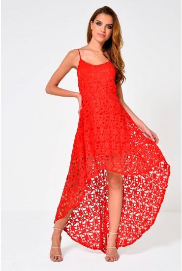 Darcy Dipped Hem Crochet Dress in Red