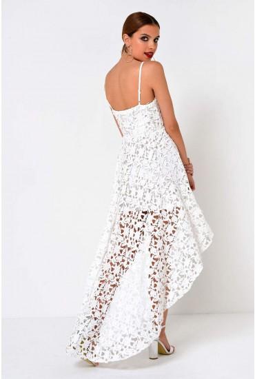 Darcy Dipped Hem Crochet Dress in White