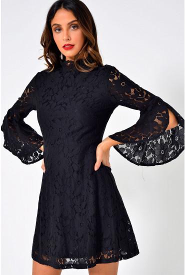 Janne  Flare Sleeve Lace Dress in Black