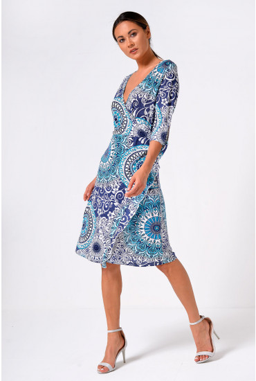 Shelly Mock Wrap Dress in Teal