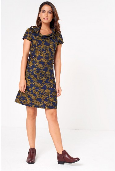 Kayden Paisley Print Tunic Dress in Navy
