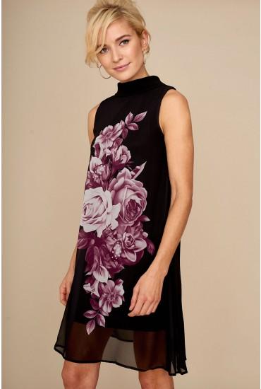Celine Floral Print Shift Dress in Black