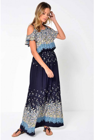 Cherry Cold Shoulder Printed Maxi Dress