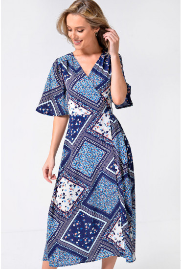 Carolyn Patchwork Midi Wrap Dress