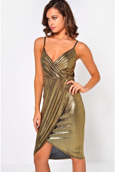Veronica Strappy Metallic Dress in Gold