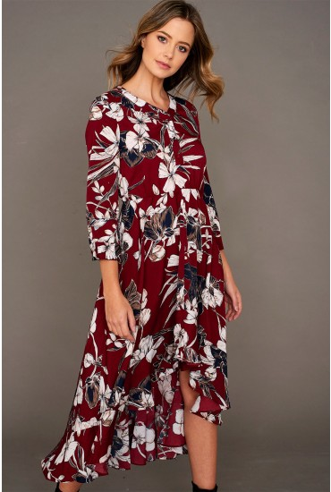 Ivory High Low Hem Midi Dress in Burgundy