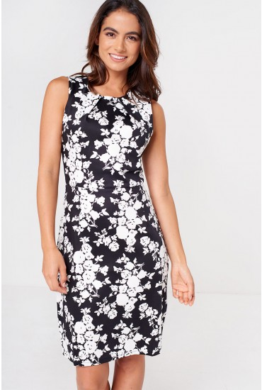 Suzy Floral Print Midi Dress in Monochrome