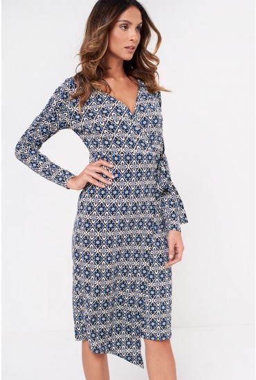 Landon Long Sleeve Midi Wrap Dress in Blue
