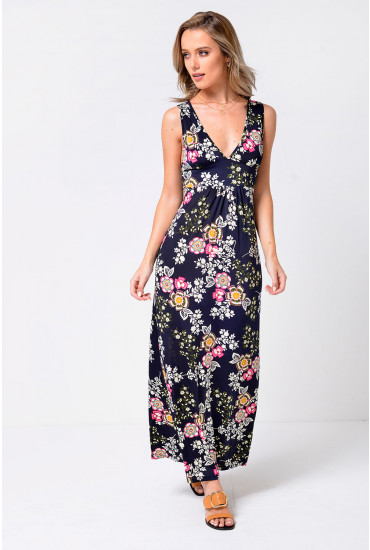 Daisy Cross Back Maxi Dress in Navy