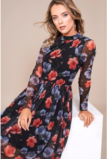 Irvette Pleated Midi Dress in Black Floral Print