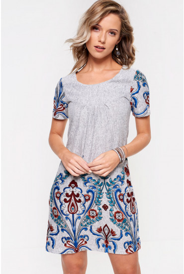 Rena Soft print Tunic in Grey