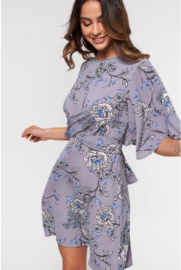 Georgie Knot Front Dress in Grey Floral
