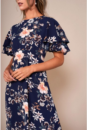 Zoe Floral Print Short Dress in Navy