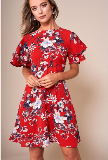 Zoe Floral Print Short Dress in Red