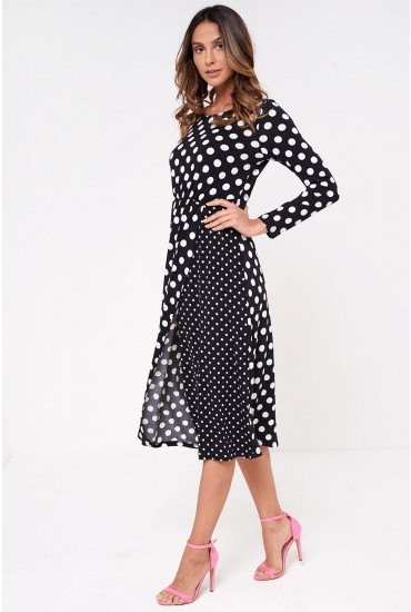 Slaney Long Sleeve Midi Polka Dot Dress in Black