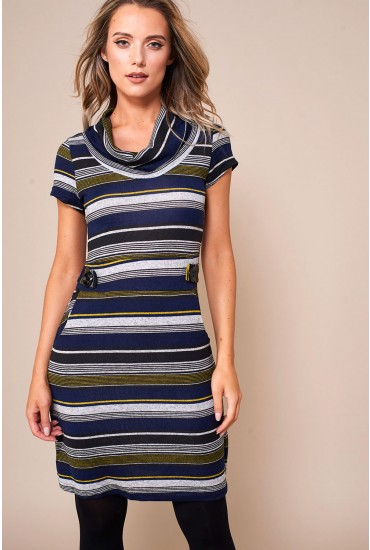 Maya Striped Tunic Dress in Navy