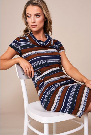 Maya Striped Tunic Dress in Rust