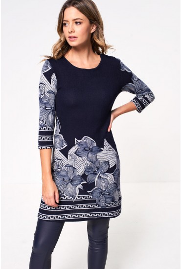 Sofia Tunic Dress in Navy Print