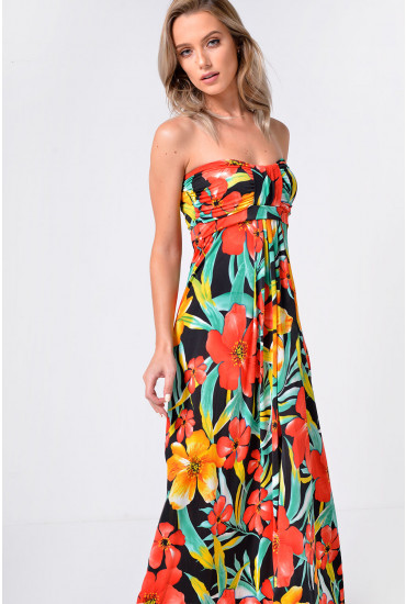 Melia Bandeau Maxi Dress in Black
