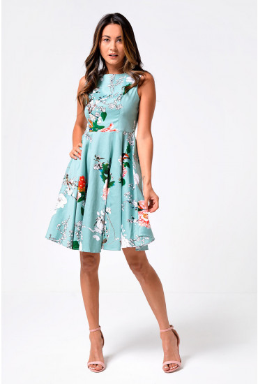 Lonnie Skater Dress in Mint Print