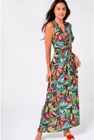 Lavina Tropical Print Maxi Dress in Pink