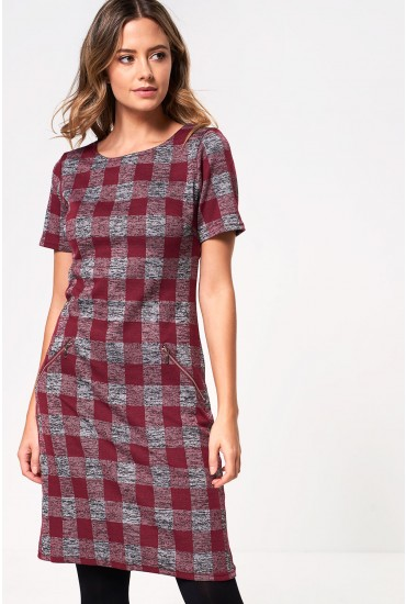 Camila Short Sleeve Check Dress in Wine