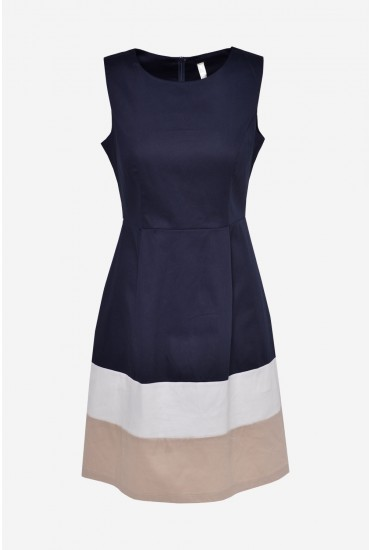 Lea Skater Dress in Navy