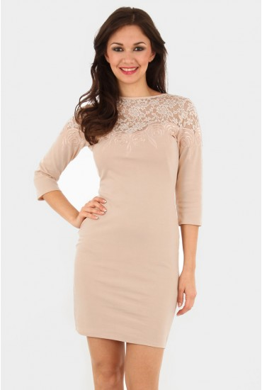 Hayley Lace Shift Dress in Nude