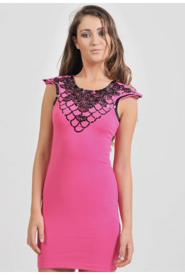 Claire Sequin Embellished Dress in Pink
