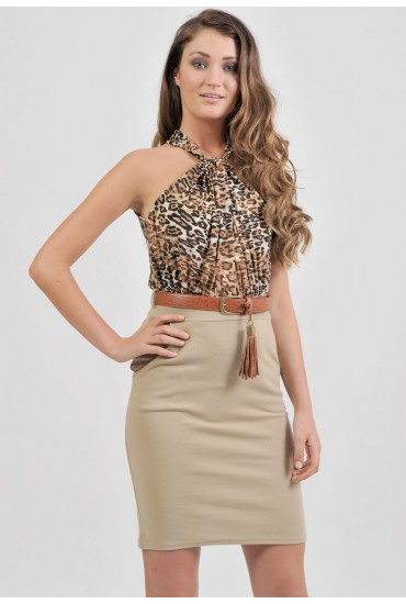 Sabrina Leopard Contrast Dress