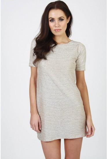 Yolanda Textured Foil Dress in Silver