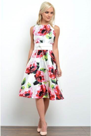 Tracy Floral Print Midi Skater Dress in Cream