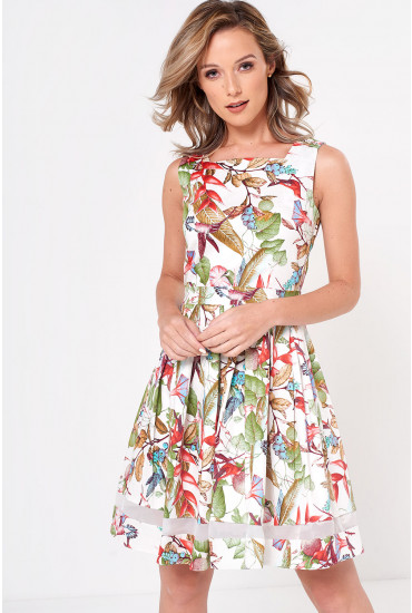 Vera Printed Skater Dress in Multi White