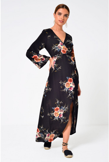 Casey Floral High Low Wrap Dress
